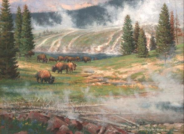 Jerry Antolik bison fire-hole-river