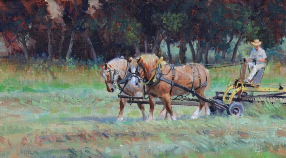 Jerry Antolik raking-hay